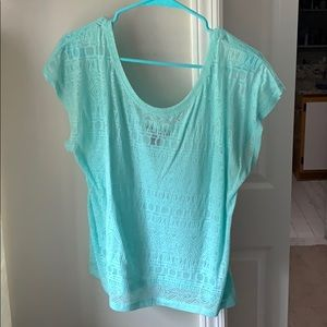 Sheer teal forever 21 low back top